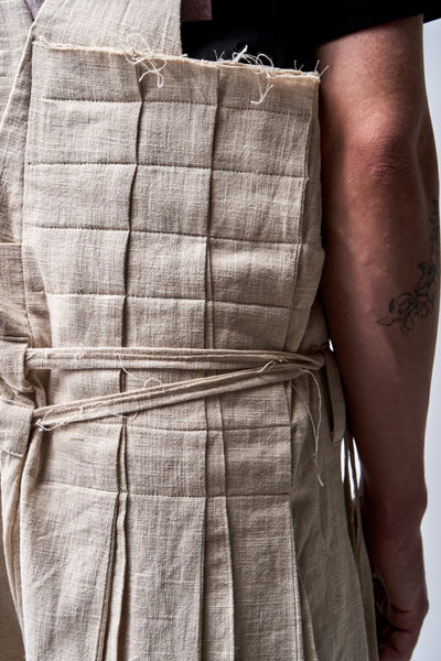 Shop Emerging Conscious Agender Avant-garde Brand Nomad Goba Idiocy Collection Unbleached Hemp Asymmetric Overalls at Erebus