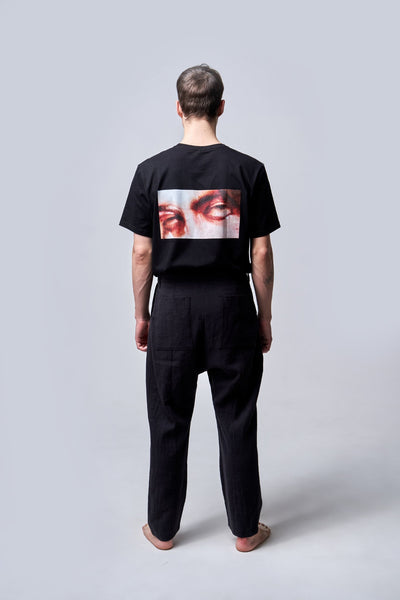 Shop Emerging Conscious Agender Avant-garde Brand Nomad Goba Idiocy Collection Black Hemp Trousers at Erebus
