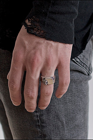 Shop Emerging Conscious Avant-garde Brand Black Rock Jewel Skull Signet Ring at Erebus