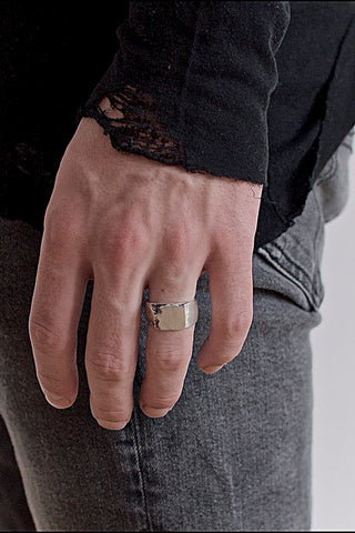 Shop Emerging Conscious Avant-garde Brand Black Rock Jewel Signet Carved Ring at Erebus