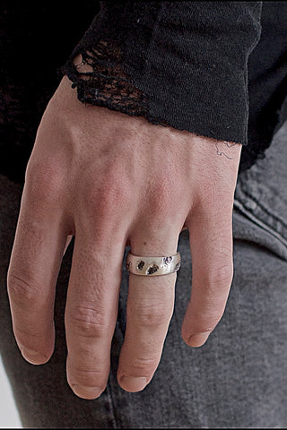 Shop Emerging Conscious Avant-garde Brand Black Rock Jewel Eroded Band Rift Ring at Erebus