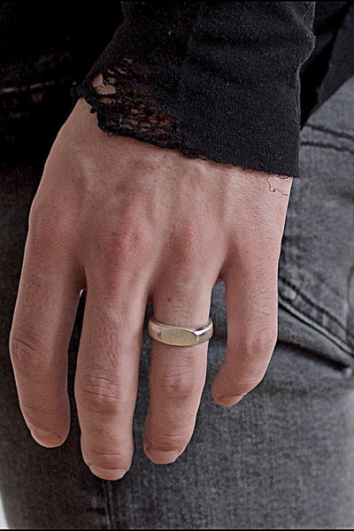 Shop Emerging Conscious Avant-garde Brand Black Rock Jewel Signet Band Ring at Erebus