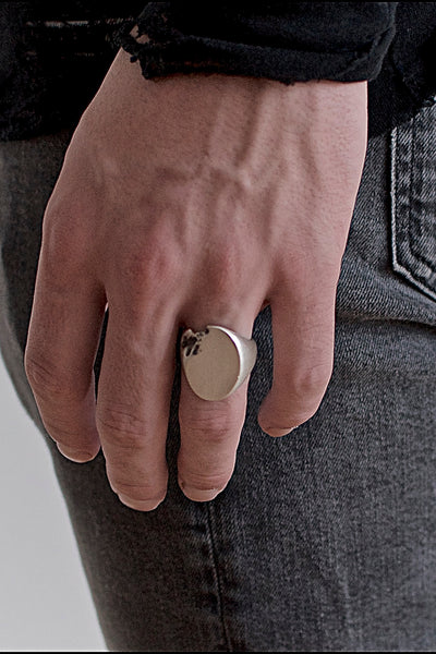 Shop Emerging Conscious Avant-garde Brand Black Rock Jewel Oval Signet Ring at Erebus