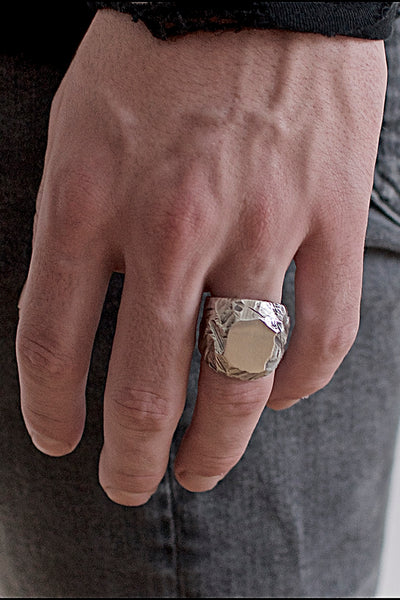 Shop Emerging Conscious Brand Black Rock Jewel Classic Black Rock Jewel Signet Ring at Erebus