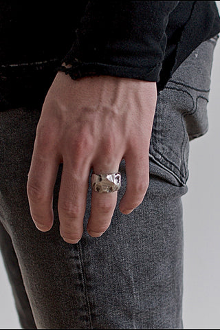 Shop Emerging Conscious Avant-garde Brand Black Rock Jewel Silver Carved Ring at Erebus
