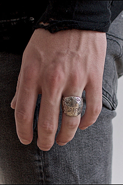 Shop Emerging Conscious Avant-garde Brand Black Rock Jewel Paper Collage Ring at Erebus