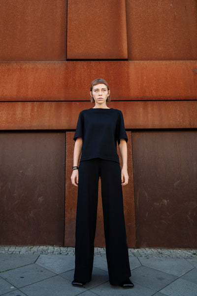 Shop Emerging Slow Fashion Futuristic Unisex Brand Fuenf Iterations Black Flared Trousers at Erebus