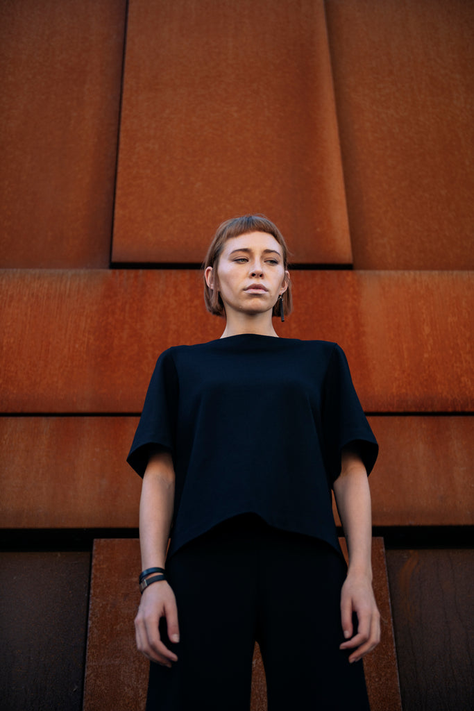 Shop Emerging Slow Fashion Futuristic Unisex Brand Fuenf Iterations Black Tee at Erebus