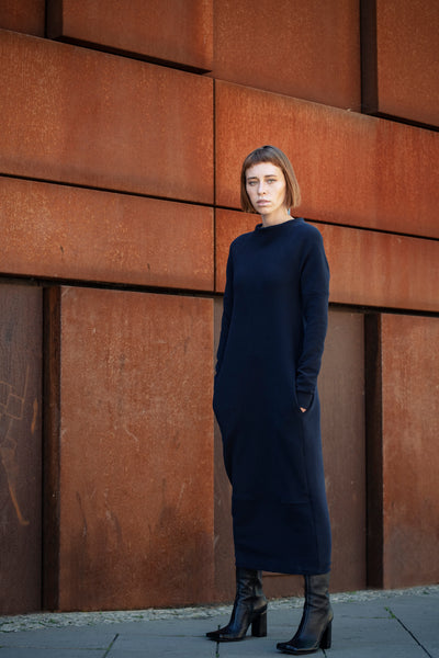 Shop Emerging Slow Fashion Futuristic Unisex Brand Fuenf Iterations Navy Maxi Dress at Erebus