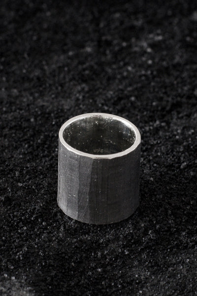 Shop Emerging Minimalist Avant-garde Jewellery Brand B KREB Oxidised Silver TNNL Ring at Erebus