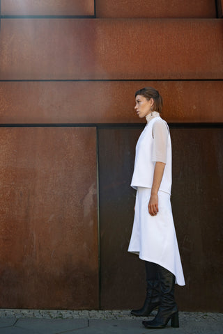 Shop Emerging Slow Fashion Futuristic Unisex Brand Fuenf Iterations White Sleeveless Top at Erebus