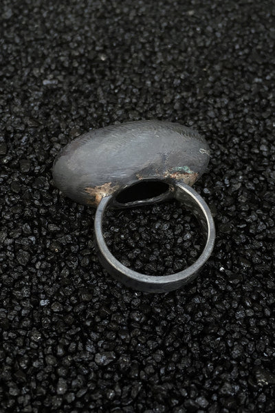 Shop Emerging Minimalist Avant-garde Jewellery Brand B KREB Oxidised Silver S3 Ring at Erebus