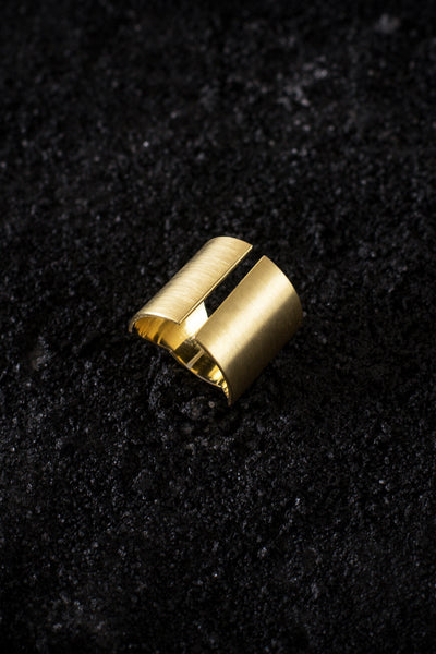 Shop Emerging Minimalist Avant-garde Jewellery Brand B KREB Gold El C Ring at Erebus