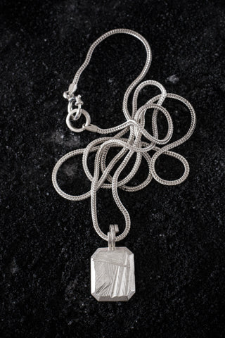 Shop Emerging Minimalist Avant-garde Jewellery Brand B KREB Silver GEM II Necklace at Erebus