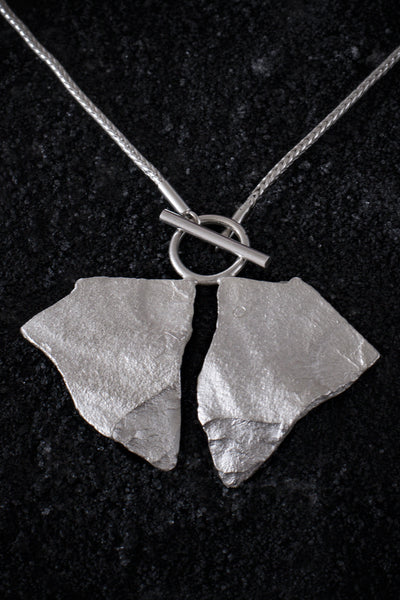 Shop Emerging Minimalist Avant-garde Jewellery Brand B KREB Silver XX Necklace at Erebus