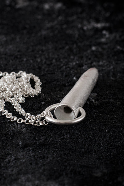 Shop Emerging Minimalist Avant-garde Jewellery Brand B KREB Matte Silver TB Necklace at Erebus