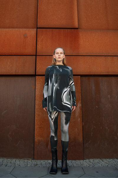 Shop Emerging Slow Fashion Futuristic Unisex Brand Fuenf Iterations Generative Long Sleeve Top at Erebus