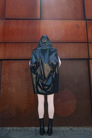 Shop Emerging Slow Fashion Futuristic Unisex Brand Fuenf Black Transformable Raincoat at Erebus