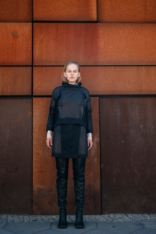 Shop Emerging Slow Fashion Futuristic Unisex Brand Fuenf Iterations Black Transformable Top at Erebus