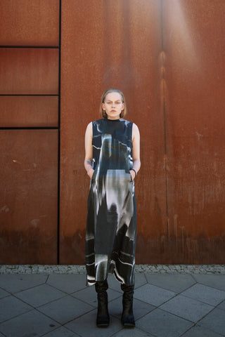 Shop Emerging Slow Fashion Futuristic Unisex Brand Fuenf Iterations Generative Print Dress at Erebus