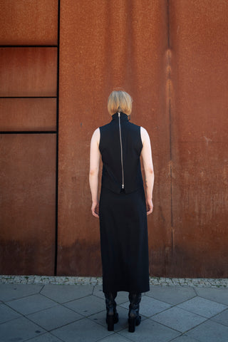 Shop Emerging Slow Fashion Futuristic Unisex Brand Fuenf Iterations Black Sleeveless Top at Erebus