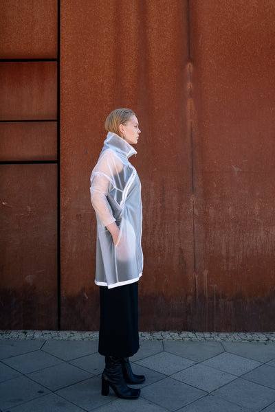 Shop Emerging Slow Fashion Futuristic Unisex Brand Fuenf Translucent Transformable Raincoat at Erebus