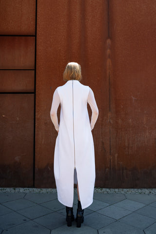 Shop Emerging Slow Fashion Futuristic Unisex Brand Fuenf Iterations White Dress at Erebus