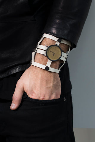 Shop emerging avant-garde accessory brands South Lane X Aumorfia Collaboration Off-White Gladiator Watch at Erebus