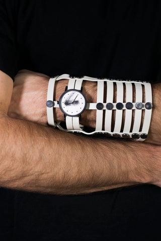 Shop emerging avant-garde accessory brands South Lane X Aumorfia Collaboration Off-White Triple Gladiator Watch at Erebus