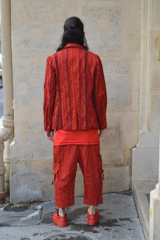 Shop Couture Conscious Dark Avant-garde Luxury Designer Brand Sandrine Philippe SS20 Homme Collection Red Multi Material Mix Stripe Jacket at Erebus