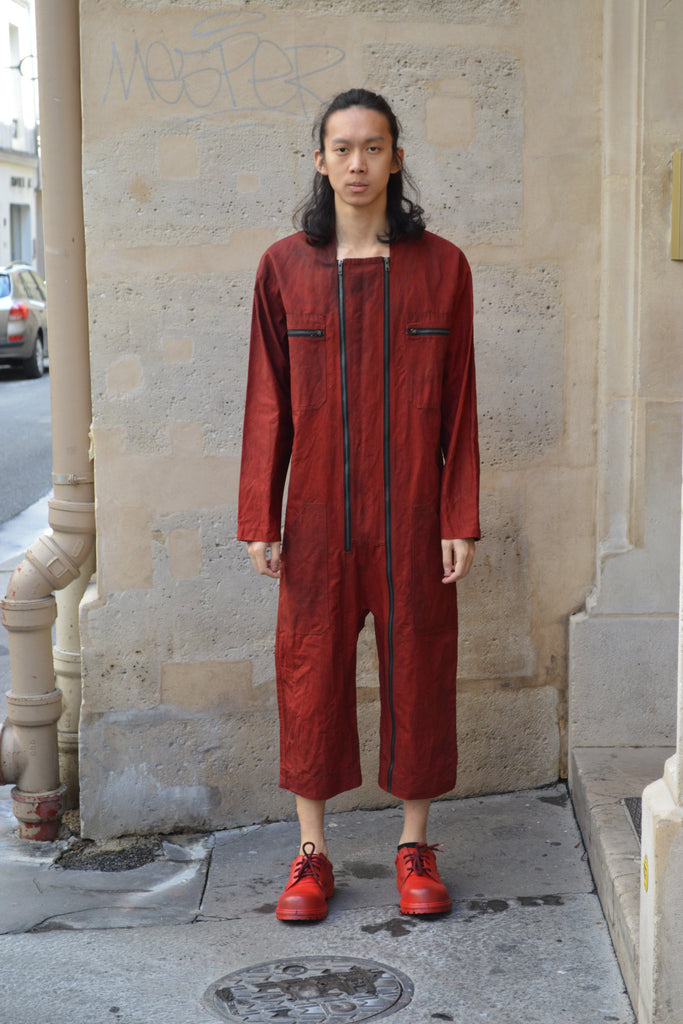Shop Couture Conscious Dark Avant-garde Luxury Designer Brand Sandrine Philippe SS20 Homme Collection Dark Red Double Zipper Jumpsuit at Erebus