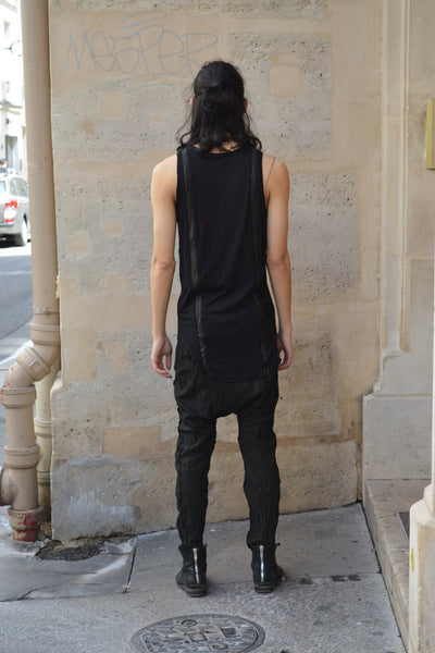 Shop Couture Conscious Dark Avant-garde Luxury Designer Brand Sandrine Philippe SS20 Homme Collection Black Leather and Cotton Jersey Organic Tank Vest Top at Erebus