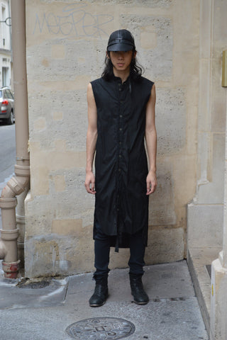 Shop Couture Conscious Dark Avant-garde Luxury Designer Brand Sandrine Philippe SS20 Homme Collection Black Cotton Poplin Long Sleeveless Shirt at Erebus