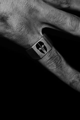 Shop Emerging Slow Fashion Avant-garde Jewellery Designer David Gaboriau X Erebus Collaboration Oxidised Silver Erebus Logo Signet Ring at Erebus