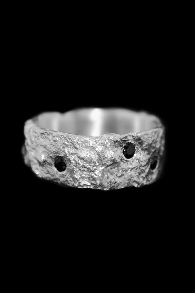Shop Emerging Slow Fashion Avant-garde Unisex Jewellery Brand David Gaboriau Polished Silver Sparkle Ring at Erebus