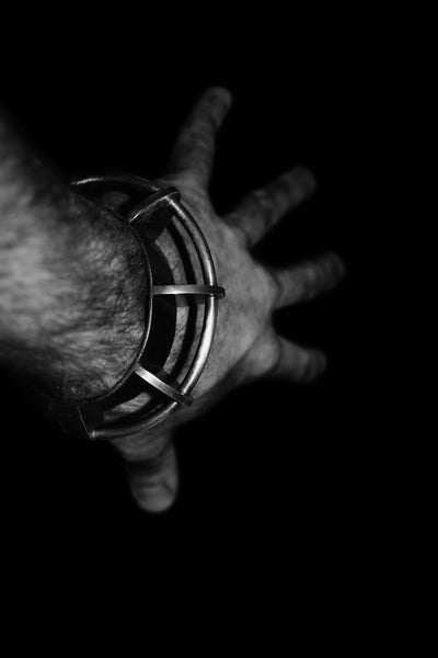 Shop Emerging Conscious Avant-garde Jewellery Designer David Gaboriau Oxidised Sterling Silver Arche Bracelet at Erebus
