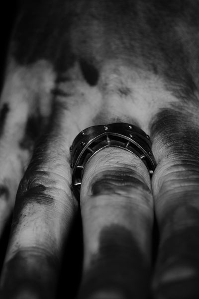 Shop Emerging Slow Fashion Avant-garde Unisex Jewellery Brand David Gaboriau Oxidised Silver X Ring at Erebus