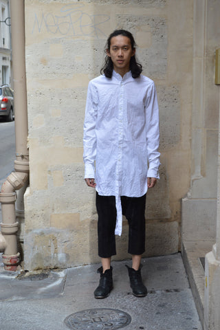Shop Couture Conscious Dark Avant-garde Luxury Designer Brand Sandrine Philippe SS20 Homme Collection White Cotton Poplin Double Wrist Shirt at Erebus