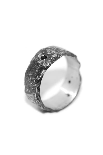 Shop Emerging Slow Fashion Avant-garde Unisex Jewellery Brand David Gaboriau Oxidised Silver Sparkle Ring at Erebus