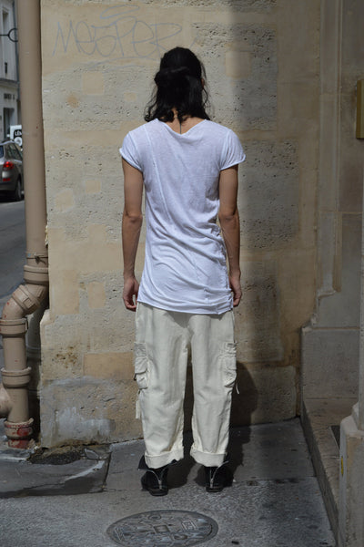 Shop Couture Conscious Dark Avant-garde Luxury Designer Brand Sandrine Philippe SS20 Homme Collection White Cotton Jersey Long Snail T-Shirt at Erebus