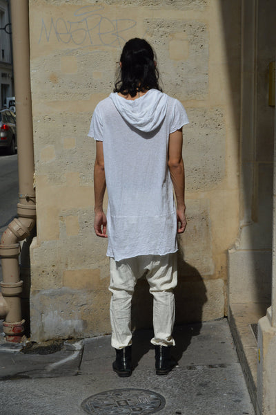 Shop Couture Conscious Dark Avant-garde Luxury Designer Brand Sandrine Philippe SS20 Homme Collection Flamed Cotton White Hooded T-Shirt at Erebus