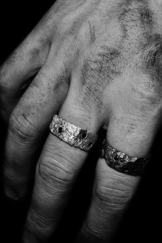 Shop Emerging Slow Fashion Avant-garde Unisex Jewellery Brand David Gaboriau Silver Sparkle Rings at Erebus