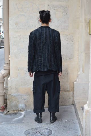 Shop Couture Conscious Dark Avant-garde Luxury Designer Brand Sandrine Philippe SS20 Homme Collection Black Multi Fabric Stripe Jacket Blazer at Erebus