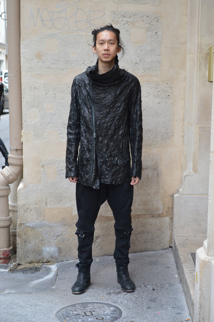 Shop Couture Conscious Dark Avant-garde Luxury Designer Brand Sandrine Philippe SS20 Homme Collection Black Embroidered Texture Leather Jacket at Erebus