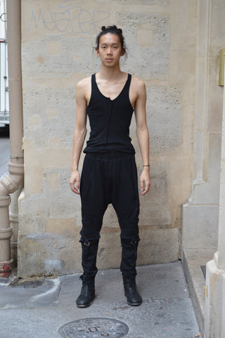 Shop Couture Conscious Dark Avant-garde Luxury Designer Brand Sandrine Philippe SS20 Homme Collection Black Silicone Coated Cotton Fleece Jogging Trousers at Erebus
