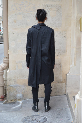 Shop Couture Conscious Dark Avant-garde Luxury Designer Brand Sandrine Philippe SS20 Homme Collection Black Cotton Poplin Asymmetric Double Shirt at Erebus
