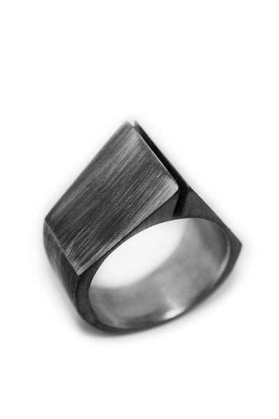 Shop Emerging Slow Fashion Avant-garde Jewellery Designer David Gaboriau Oxidised Silver Past Ring at Erebus