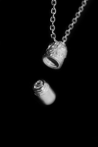 Shop Emerging Slow Fashion Avant-garde Jewellery Designer David Gaboriau Polished Silver Capsule Necklace at Erebus