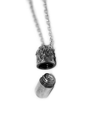 Shop Emerging Slow Fashion Avant-garde Jewellery Designer David Gaboriau Oxidised Silver Capsule Necklace at Erebus