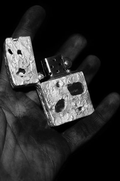 Shop Emerging Conscious Avant-garde Jewellery Designer David Gaboriau Polished Sterling Silver Raw V2 Zippo Lighter Holder at Erebus